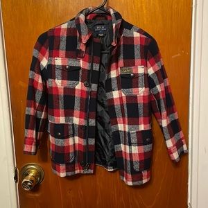 Boys polo  plaid wool coat